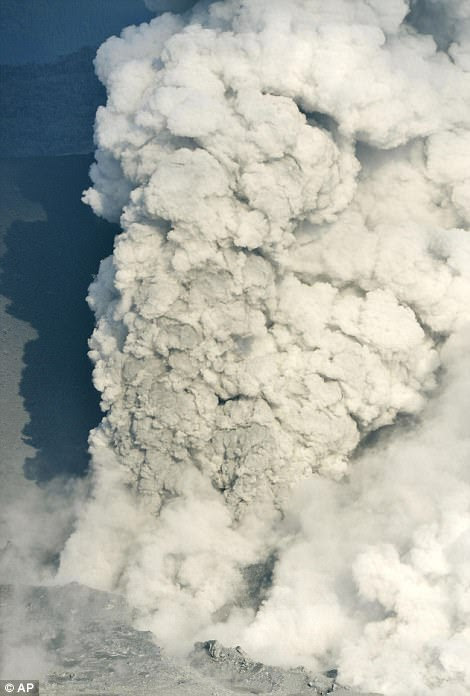 Eruption: Toxic smoke and ash spewed from the crater of Mount Shinmoedak in the south western Miyazaki prefecture