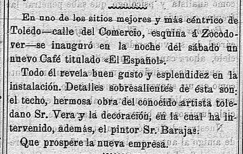 La Tarde, 23 de febrero de 1909. Noticia de la inauguración del Café Español