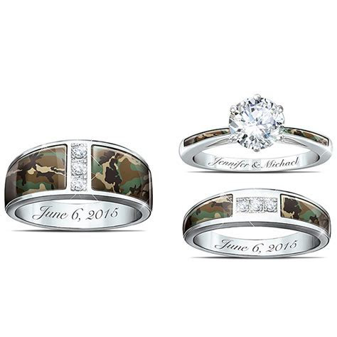 Blue Camo Wedding Rings Blue Camo Wedding Ring Set