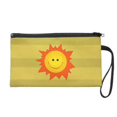 Happy Smiling Cartoon Sun Wristlet Purses