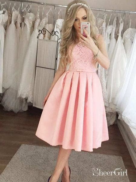 Mid Length Pink Lace Homecoming Dresses Modest Wedding