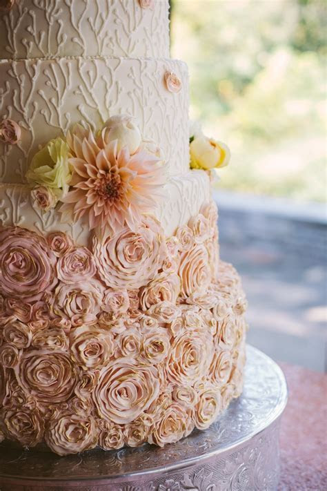Branches And Rosette Fondant And Royal Wedding Cake
