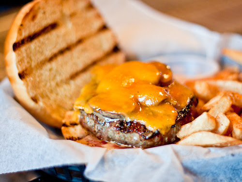 Cheddar and mushroom lovin' (Kennett Square burger)