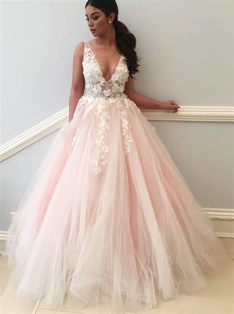 Ball Gown Deep V Neck Backless Light Pink Tulle Appliques
