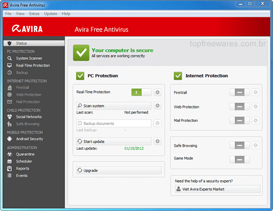 Antivírus gratuito para Windows - Avira Free Antivirus