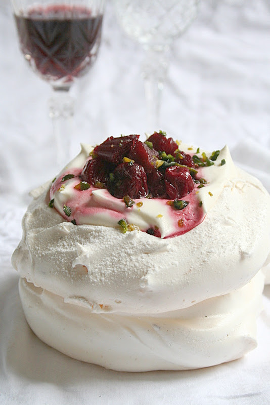 Rhubarb, cherries & white chocolate Pavlova