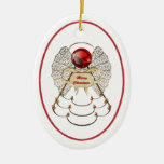 Personalize: Filigree Merry Christmas Angel Oval Double-Sided Oval Ceramic Christmas Ornament