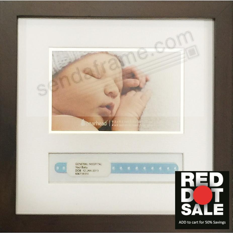 Babyprints Id Bracelet Large Expresso Brown Wood Frame Picture