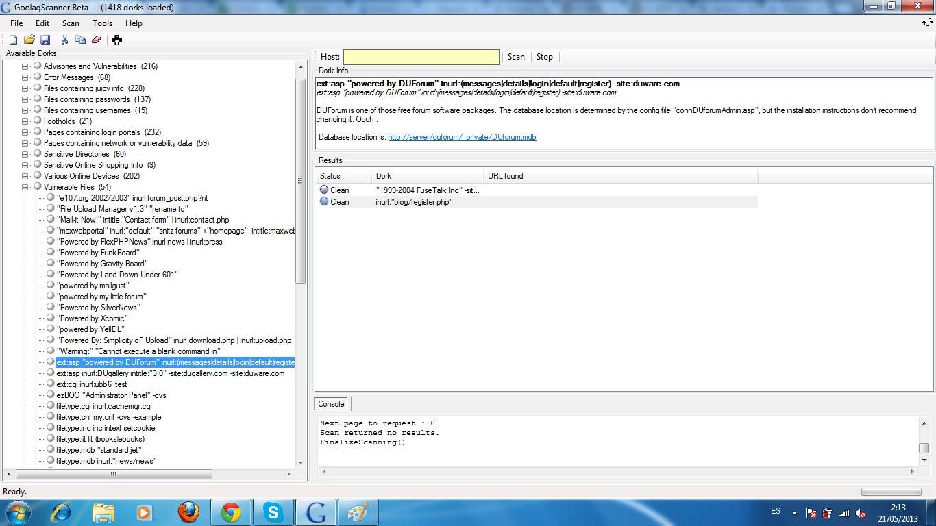 Goolag scanner beta inseguridad informatica za g su for Como se escribe beta