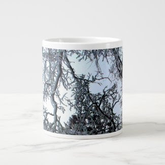 Snow Covered Tree Branches Specialty Mug Jumbo Mugs