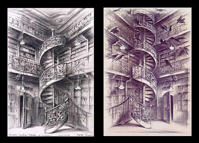2 spiral staircases in a library