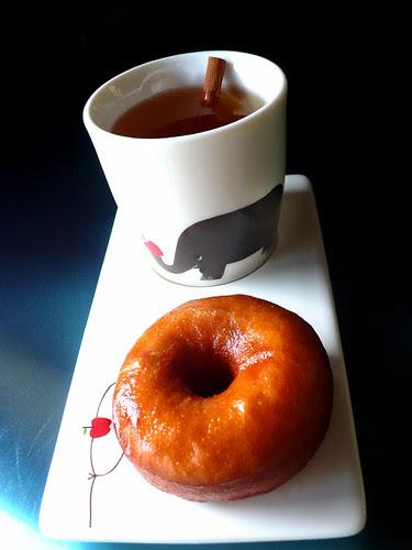 cider glazed honey brioche doughnut