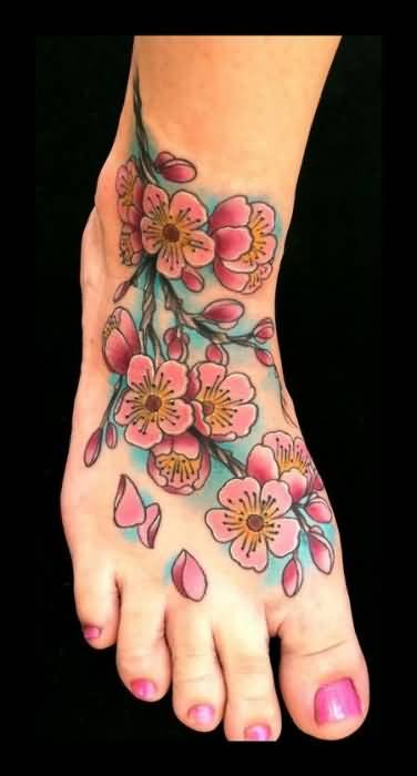 Lovely Pink Cherry Blossom Flowers Tattoo Design For Womens Foot