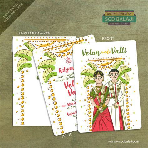 Quirky Indian Wedding Invitations   Tamil Wedding