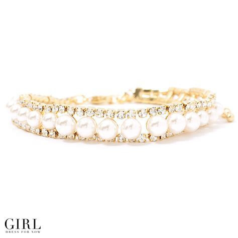 Dress shop GIRL: Bracelet bangle pearl rhinestone pearl