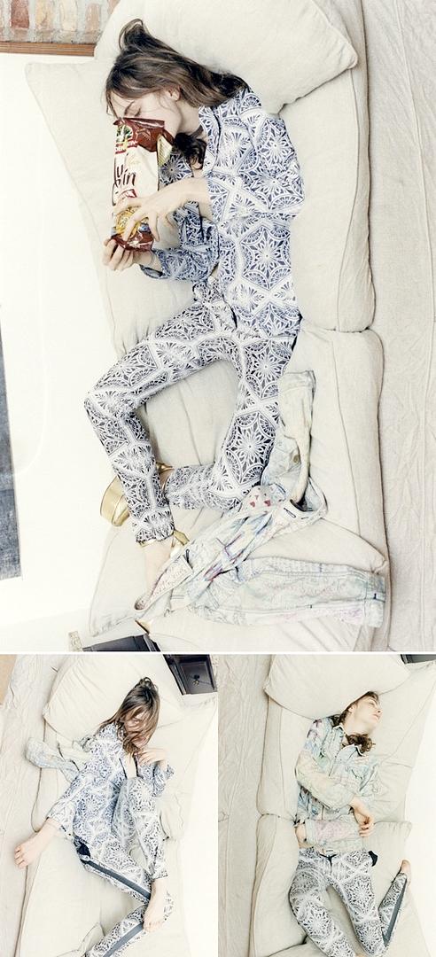 Title- Personally Yours Magazine- Oyster Winter 2011 Model- Myf Shepherd Photographer- Colin Dodgson Stylist- Sasha Kelly print pj pajama gold metallic shoes 1