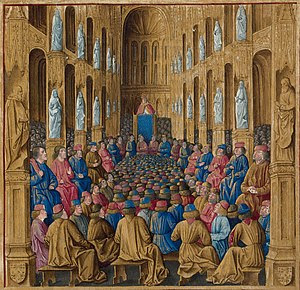 Pope Urban II at the Council of Clermont of 10...