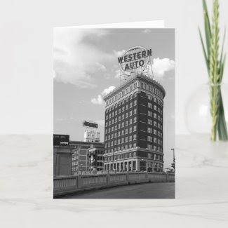 Western Auto Half Cylinder Building zazzle_card