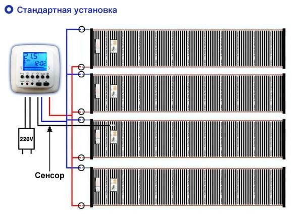 Схема подключения инфракрасного теплого пола через терморегулятор