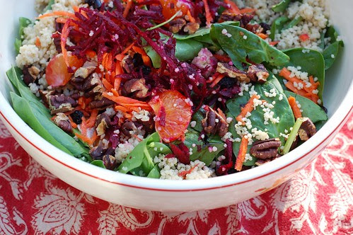 Sunburst Spinach Salad With Beets & Couscous by Eve Fox, Garden of Eating blog, copyright 2012