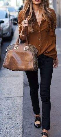 Black and brown. I love those shoes too!