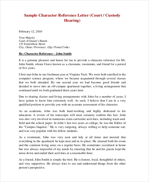 Sample Character Reference Letter for court hearing