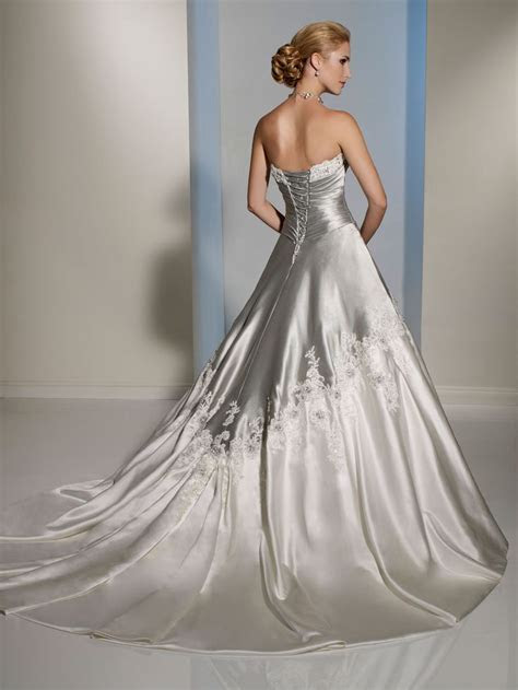 Unique two tone wedding dress features strapless