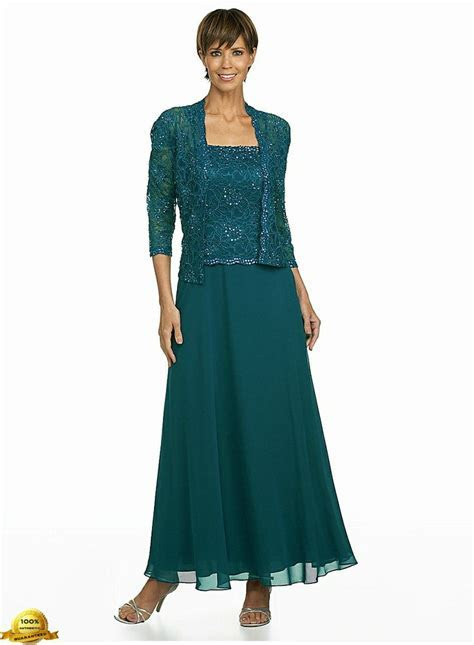 Karen Miller 6540T Chiffon Dress with Lace Jacket in Teal
