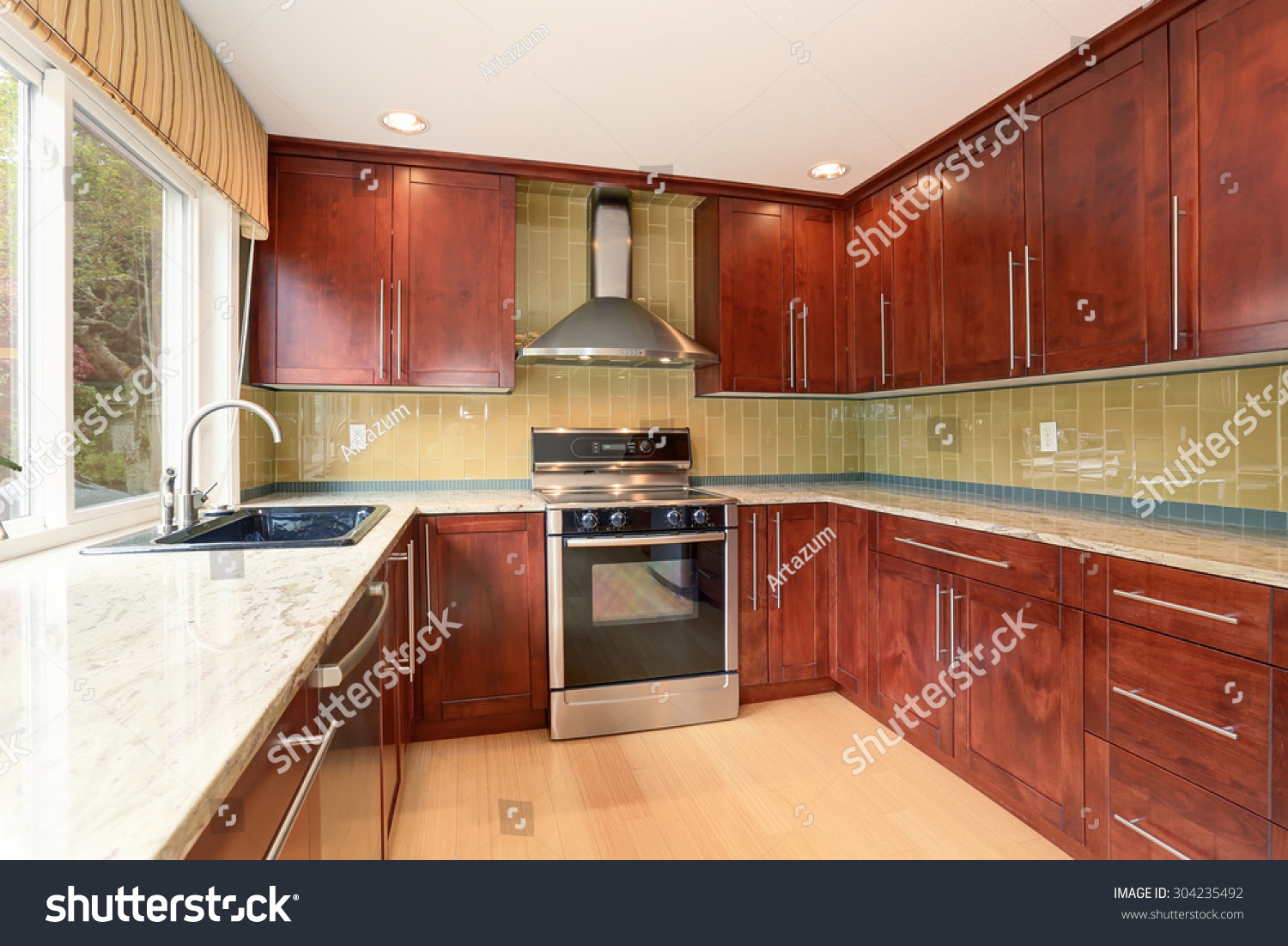 Clean Style Kitchen Stained Wood Cabinets Stock Photo ...