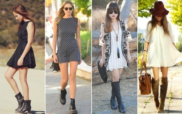 Vestidos de Verão combinado com Botas para o Inverno