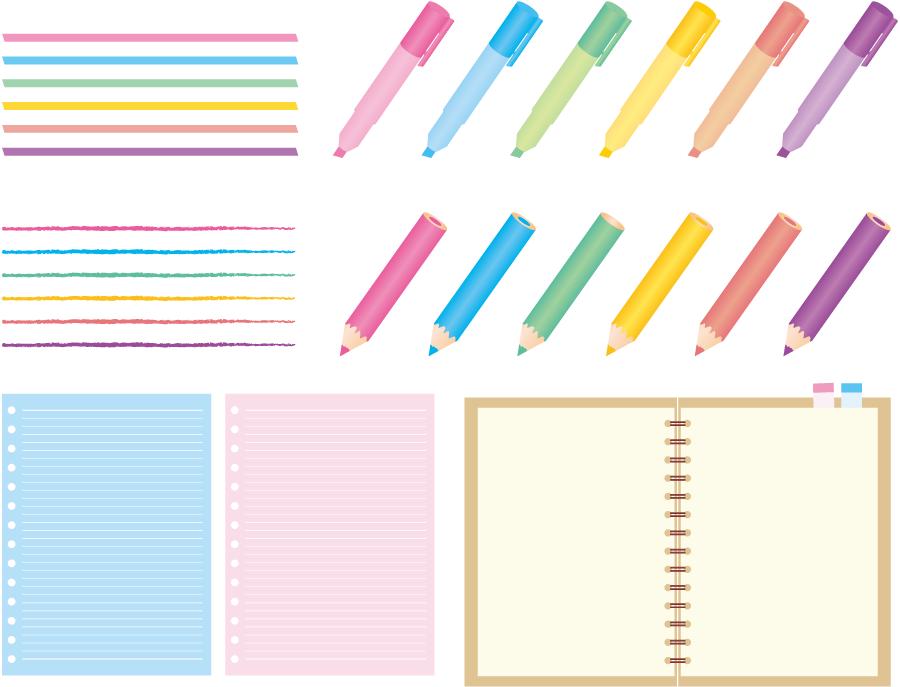 フリーイラスト 蛍光ペンと色鉛筆とルーズリーフのセットでアハ体験