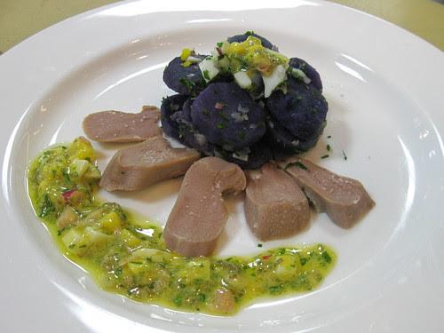 Lamb Tongue w. Warm Potato Salad and Raviogote Vinaigrette