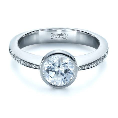 Custom Bezel Set Diamond Engagement Ring #1215   Seattle