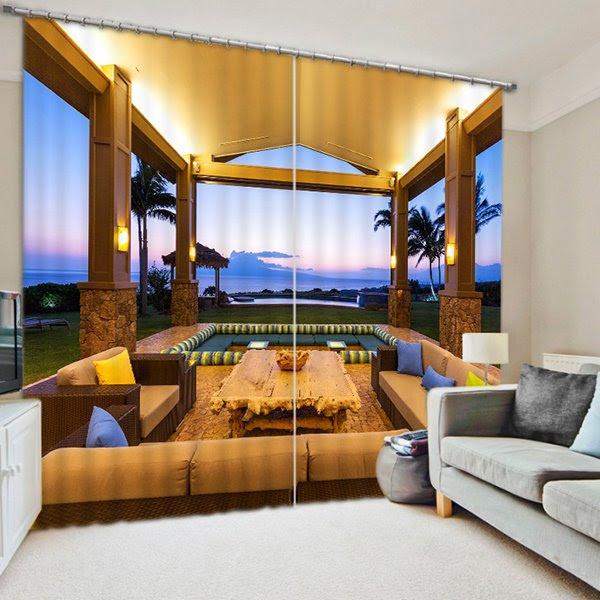 Luxurious Open-air Pavilion Print 3D Blackout Curtain