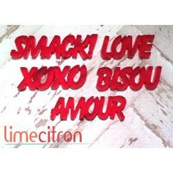 Acrylique - petits mots Amour Rouge