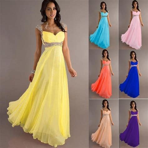 long chiffon evening formal party ball gown prom