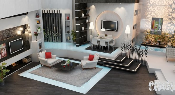 There are more shapes in this modern living room - we see circles, rectangles, squares - all in a nuetral palette of brown and beige, with pops of refreshing red or cool blue.