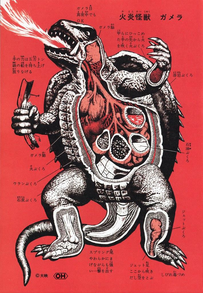 """Shoji Ohtomo - """"Kaiju Zukan"""" (Monster Picture Book) Page 82, Gamera"""
