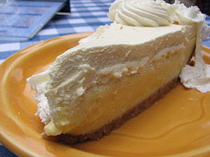 Slice of key lime pie.