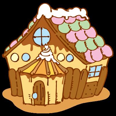 お菓子の家のイラスト かわいいフリー素材が無料のイラストレイン