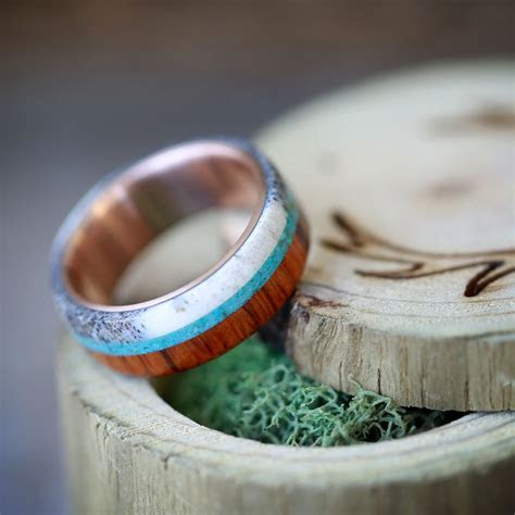 WOOD WEDDING BAND WITH ANTLER AND TURQUOISE ? STAGHEAD DESIGNS