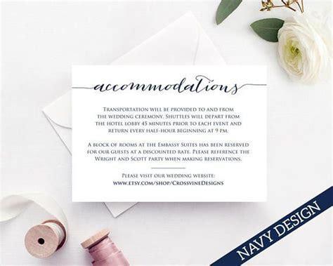 Accommodation Card Insert, Wedding Information Card