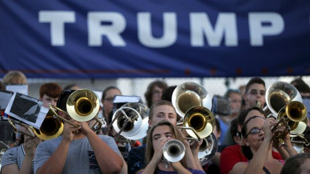 A marching band play before Donald Trump's campaign event in Rochester, New Hampshire - 17 September 2015
