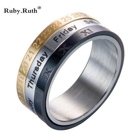 Titanium Steel Tricolor Calendar Time Wedding Ring Men's