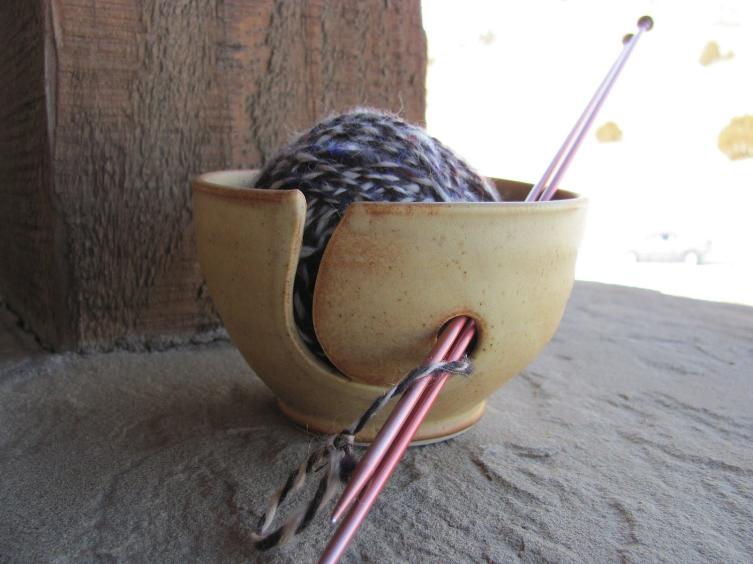Wheel Thrown Ceramic Yarn Bowl in Golden Brown