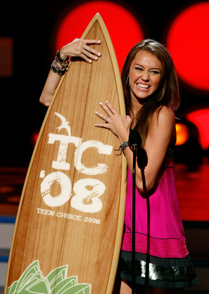 Miley Cyrus Singer/actress Miley Cyrus accepts the Choice TV Actress award onstage during the 2008 Teen Choice Awards at Gibson Amphitheater on August 3, 2008 in Los Angeles, California.
