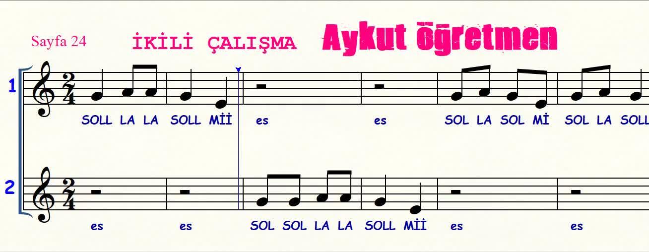 Sayfa 24 De Ikili çalışma Isimli şarkı Nota Okuma Dersi Solfej Blok