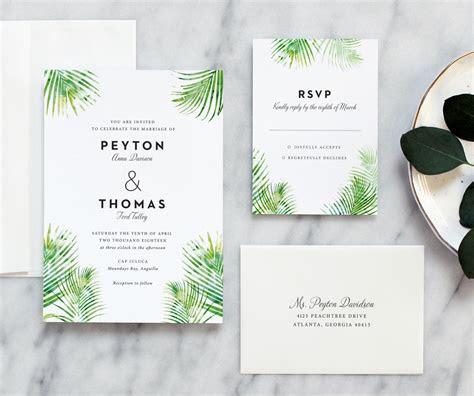 Palm Leaves Wedding Invitation   Fine Day Press