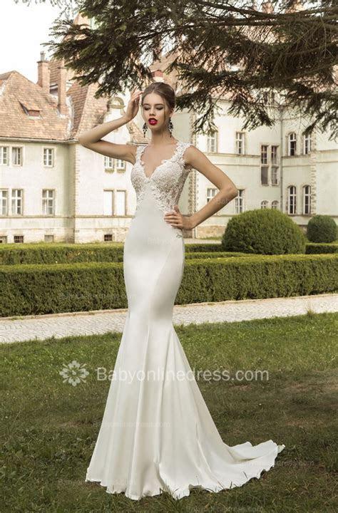 V Neck Satin Mermaid Wedding Dresses 2019 Lace Sleeveless