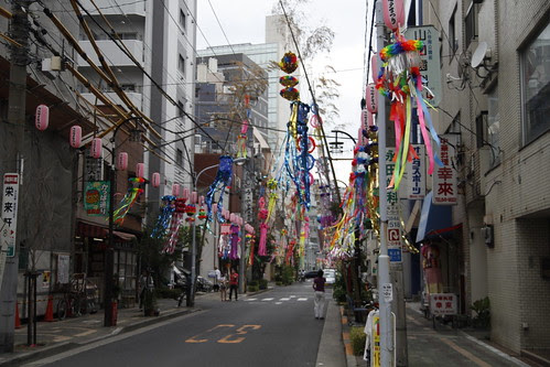 Entire street lined with Tanabata decoration 2